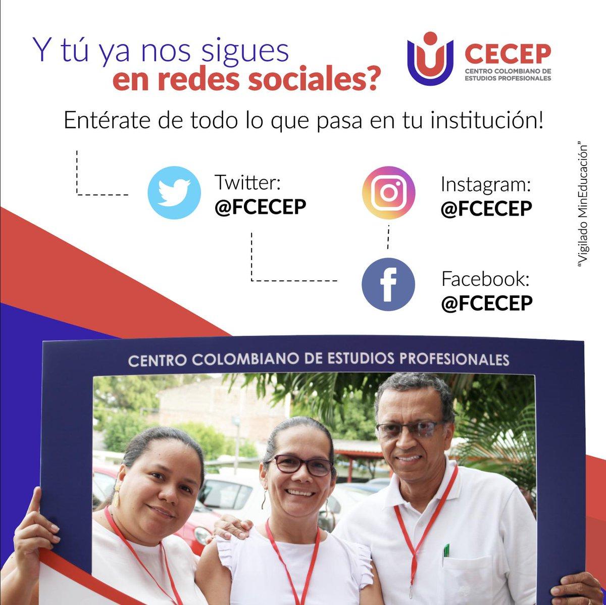 Te invitamos a que nos sigas en todas nuestras redes sociales y sigas todo el contenido diario que tenemos preparado especialmente para ti! 🤓  En el CECEP avanzamos en comunidad!   Instagram: https://t.co/m5Ga9YY2FU  Facebook: https://t.co/hb7dDMj06Q  #AvanzamosEnComunicaciones https://t.co/u6CICP6dDf