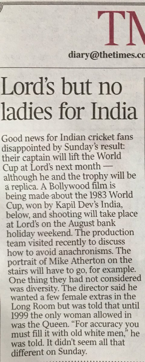 A Bollywood film about how India won the 1983 Cricket World Cup is apparently in progress - let's see how they show the (lack of) diversity of this English establishment. #Lords #India #1983worldcup #KapilDev #Bollywood