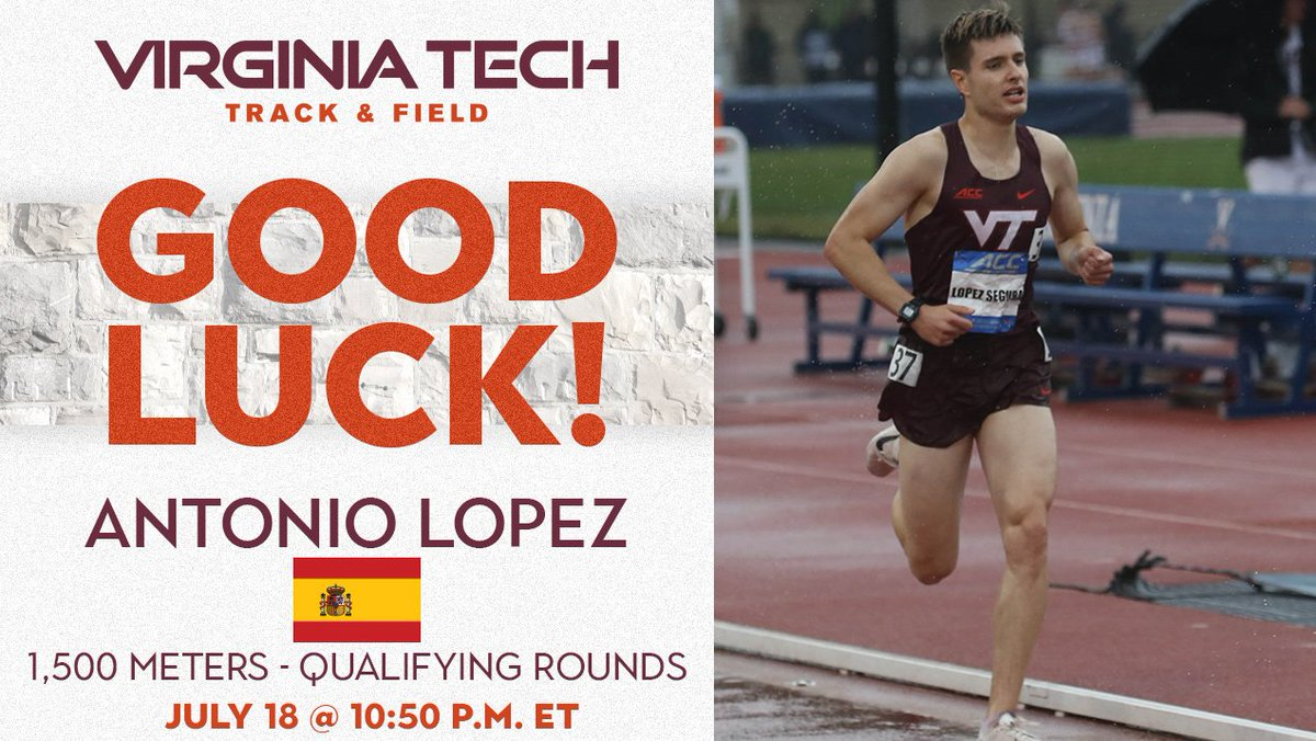 Good luck to @Antoniolsegura  as he will compete in the qualifying round of the 1,500 at the U-20 European Championships in Sweden  tomorrow at 10:50 a.m. ET    »  http:// bit.ly/32ow3z0      #Hokies <br>http://pic.twitter.com/u7gzaXSkRA