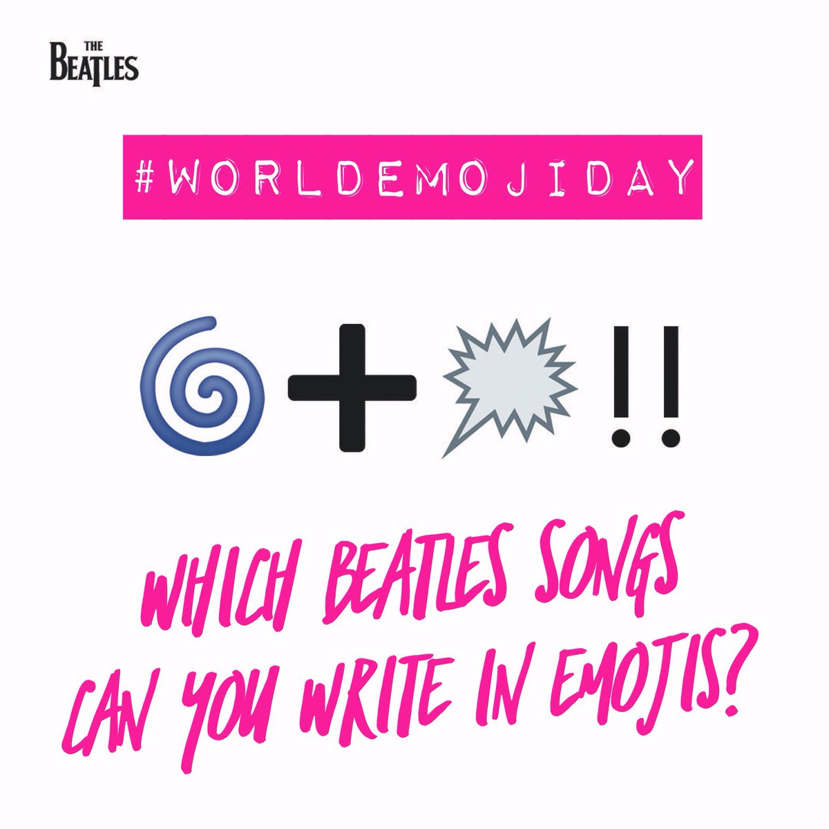 Its #WorldEmojiDay! Can you figure out which Beatles song weve written here in emojis? Once you have, we want to see your emoji #Beatles song titles!