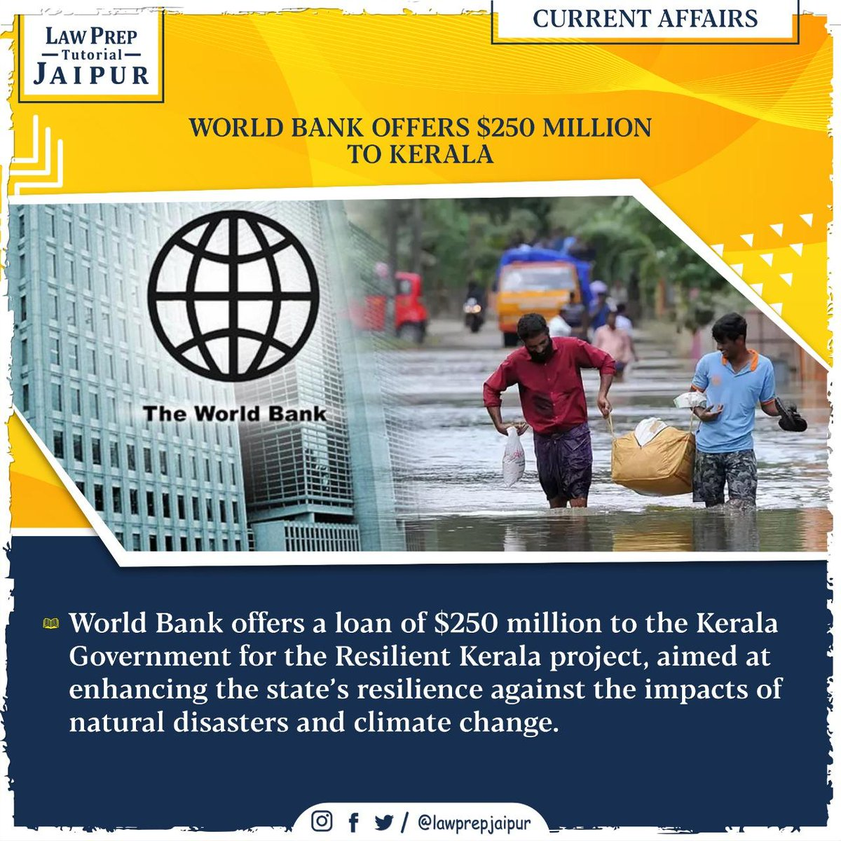 Stay connected for more such Current Affairs.  #Gk #CLATGK #CLAT2020 #CLATQuestions #currentaffairs #LegalGk #WorldBankOffers #KeralaProject