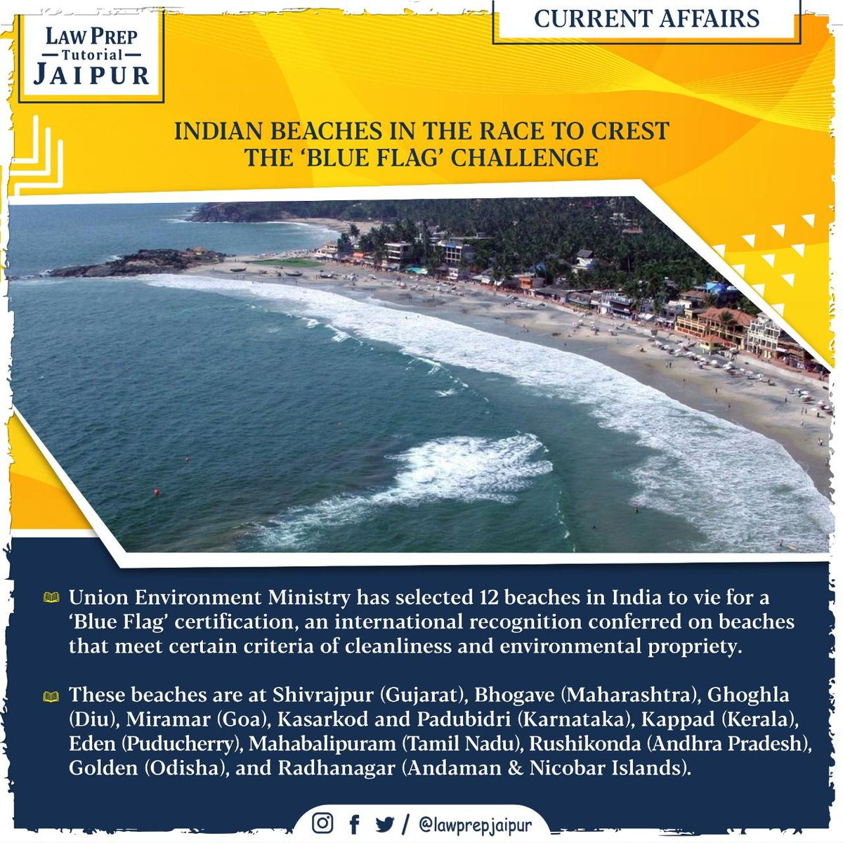 Stay connected for more such Current Affairs.  #Gk #CLATGK #CLAT2020 #CLATQuestions #currentaffairs #LegalGk #BlueFlag #BlueFlagChallenge #IndianBeaches