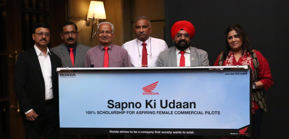Honda under its CSR initiative 'Sapno Ki Udan', will provide 100% scholarship to 20 girls for becoming commercial pilots