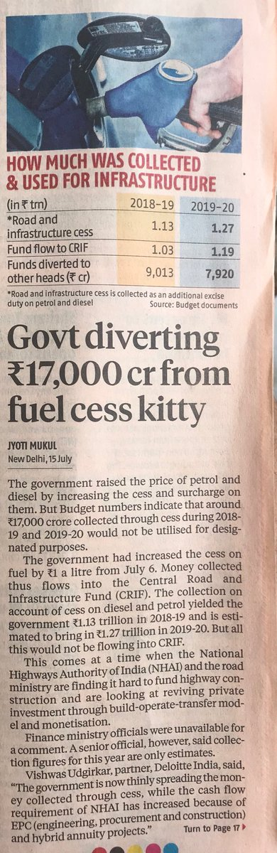 Then there's this, from @mukuljyoti. IIRC, govt was legally required to spend all it collects from petrol cess on roads. But it seems it is diverting the money. Again, who is accountable?