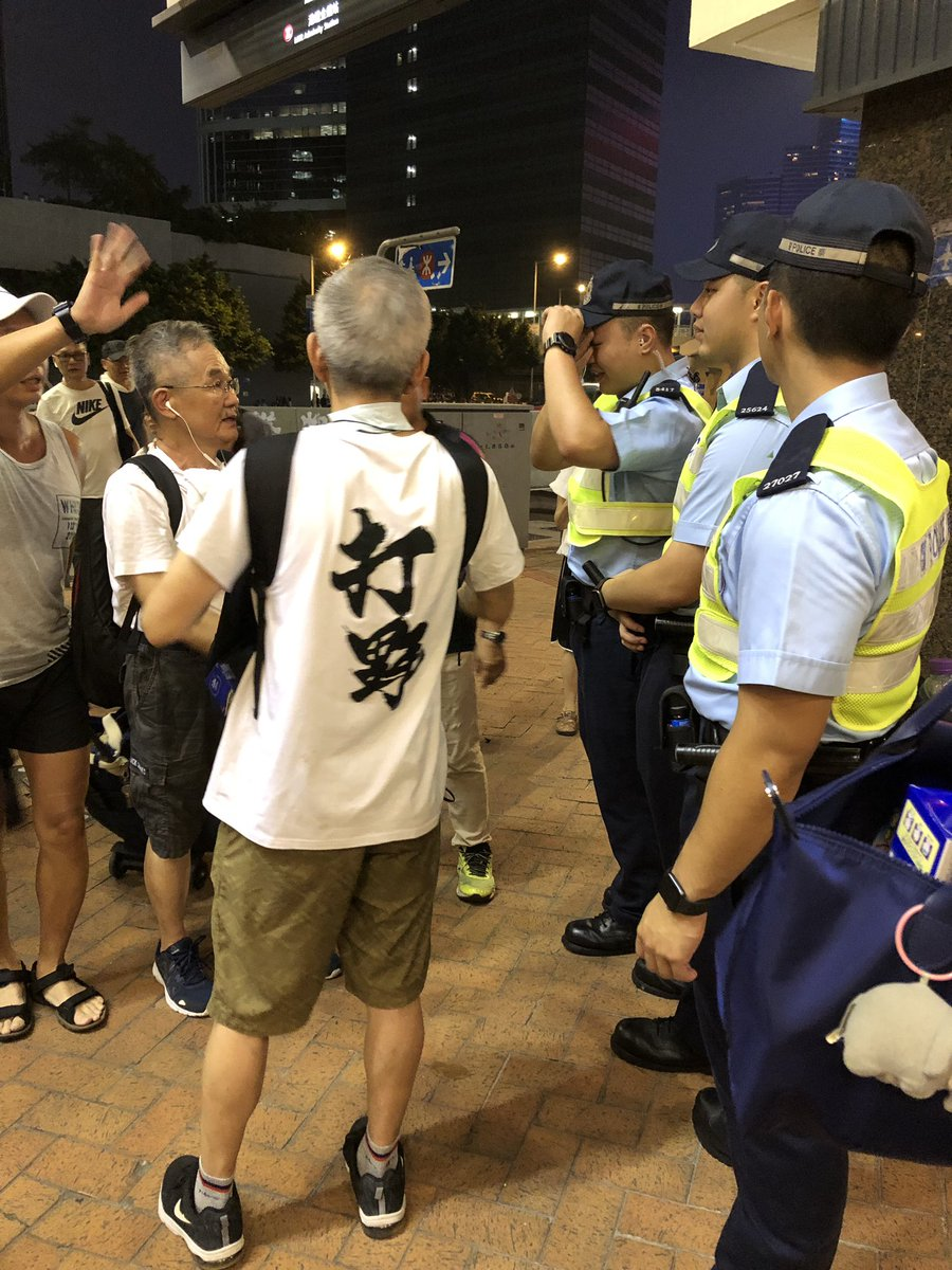 """another group of protesters thanking police for their effort today and telling them: """"don't let carrie lam betray you"""" and """"if you strike we support you"""""""