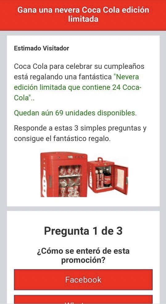 Circula un supuesto concurso de Coca-Cola por WhatsApp, *el cual es falso*. Por favor no lo compartan, pueden estar brindando datos personales o accesos a redes.  *RT y compartan a los que crean que puedan afectarse por favor*