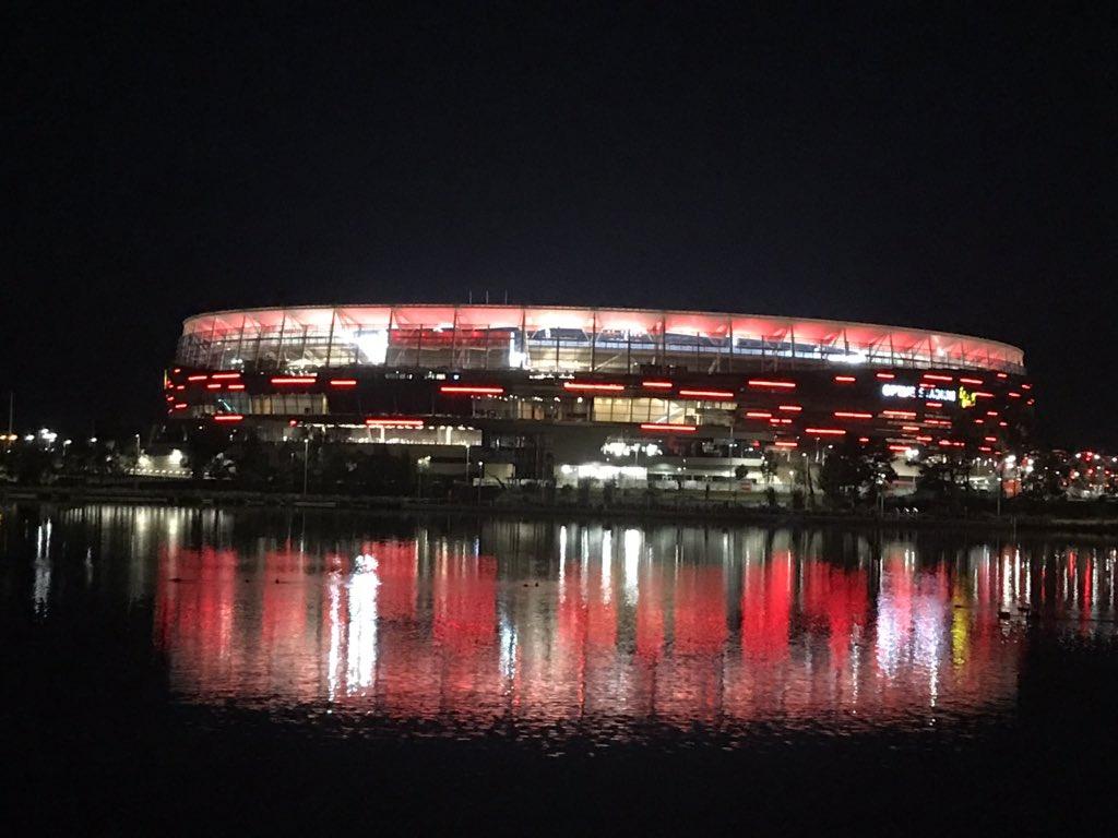 (1/2) The colour lights @ManUtd at @OptusStadium, Matagarup Bridge and Crown Perth Hotel.  #MUFC #MUTOUR #ManUtd #UnitedinPerth #Perth #MUTOUR2019 #ManchesterUnited #visitperth #optusstadium #swanriver #westernaustralia #matagarupbridge #perthstadium #matagarup #burswood https://t.co/bjNZXyLgb2