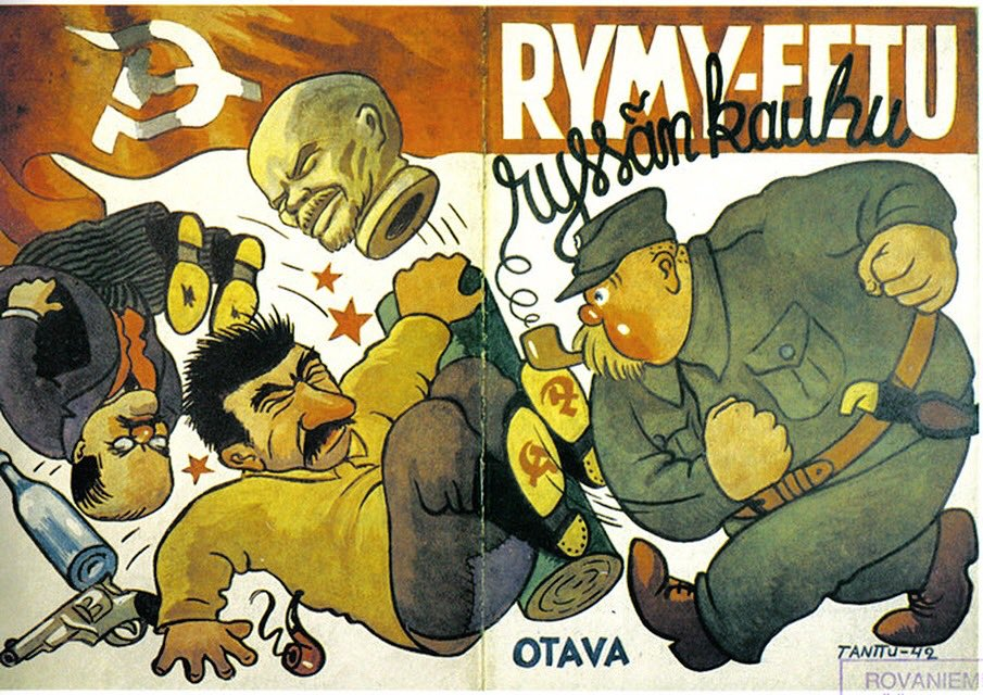 """Horror of the Russians"" –  Finnish brochure from 1942 showing Rymy-Eetu, a Finnish comic character, banging out Stalin, Molotov and a Lenin bust <br>http://pic.twitter.com/bl4yP3mCmN"