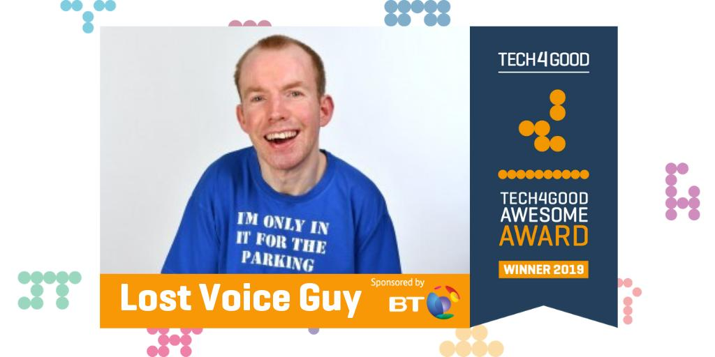 Lost Voice Guy just won the #Tech4Good Special Award for his work raising awareness of the power of tech to transform the lives of disabled people. You'll know @LostVoiceGuy as the comedian who won Britain's Got Talent (@BGT) in 2018 and now a winner at the 2019 #Tech4GoodAwards.