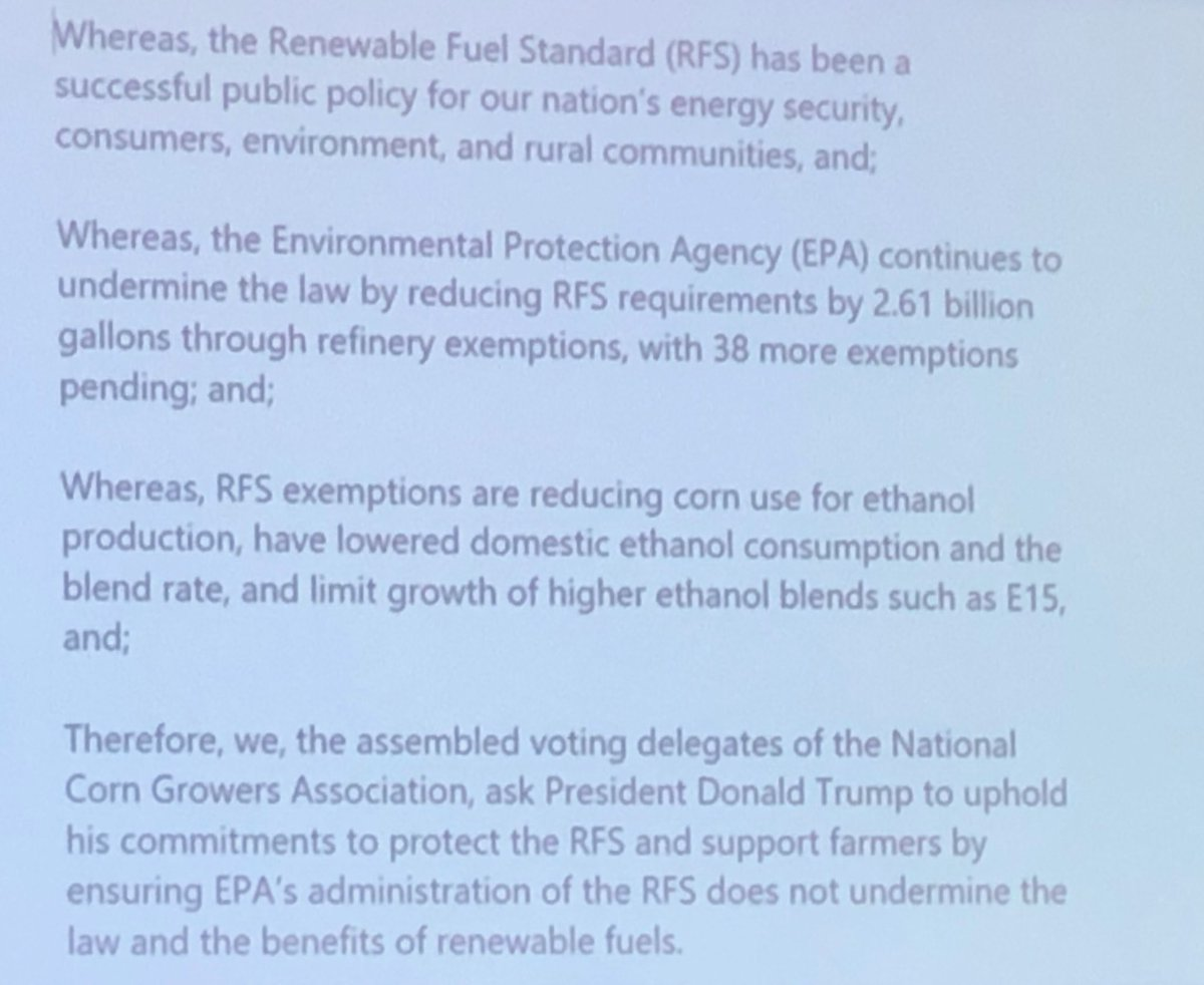 """.@NationalCorn delegates just approved this language calling on President Trump to """"uphold his commitments"""" on the RFS."""