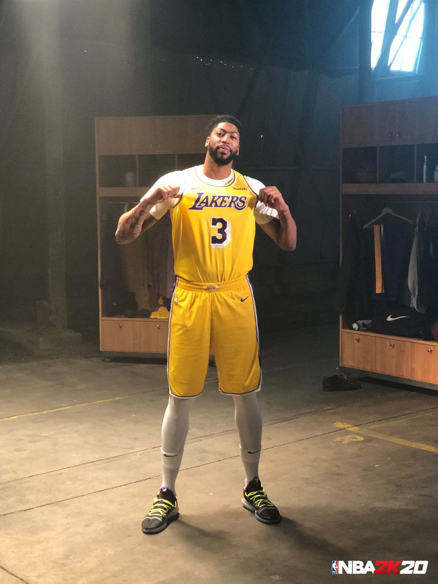IRL First Look at AD in full purple and gold 👀 We got something cookin on set 🎥 #NBA2K20