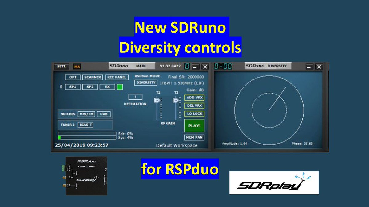 Some more about the new diversity software for the RSPduo dual tuner from SDRplay:  https://www. sdrplay.com/more-about-div ersity-reception-and-the-rspduo/   …  #RSPduo #diversityreception<br>http://pic.twitter.com/cfXBP1dTk5