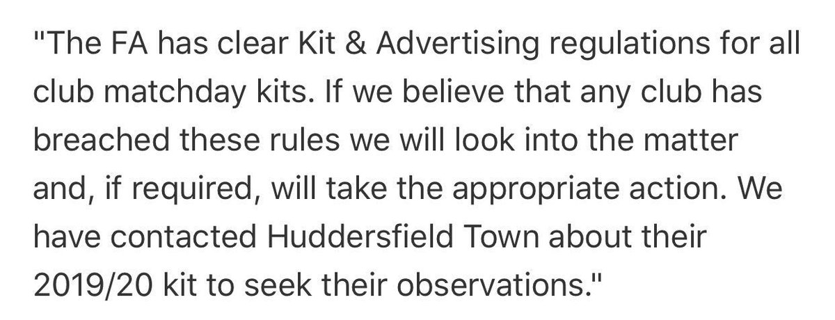 The FA have contacted Huddersfield Town in regards to the sponsorship on their new home kit. #htafc