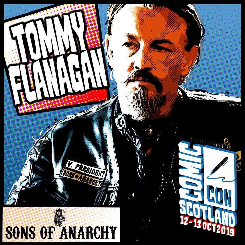 "GUEST ANNOUNCEMENT - @TommyFlanagan @ComConScotland   Tommy Flanagan is a Scottish actor. He is best known for his role as Filip ""Chibs"" Telford in the FX crime drama television series #sonsofanarchy (2008–2014). Flanagan was born in Easterhouse, Glasgow.   http://www. comicconventionscotland.co.uk/tickets      <br>http://pic.twitter.com/4akPQvn0Gy"