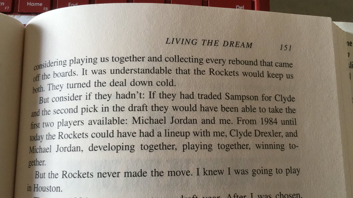 From the 🐐 himself: Hakeem in his book about how #Rockets could've dealt Ralph Sampson to the #Blazers for Clyde Drexler and the 2nd pick in the '84 Draft. 😒🙄😩💔 #NBADraft #HakeemOlajuwon #TheDream