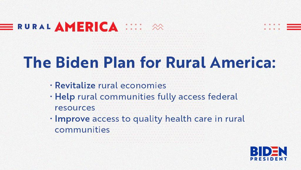 Rural communities power our nation. They feed our bodies and fuel our engines. A healthy, vibrant rural America is essential to the success of our country. That's why I released my plan for rural America: joe.link/rural