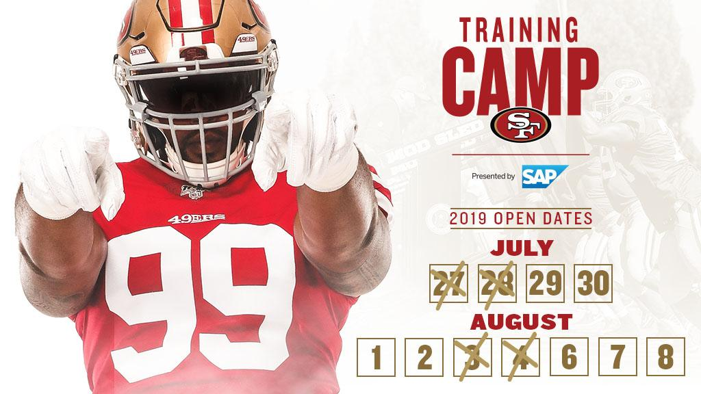 #49ersCamp tickets are going fast! Get yours for these available dates with a donation of $5 to the 49ers Foundation.  🎟: http://49rs.co/bOdGlj