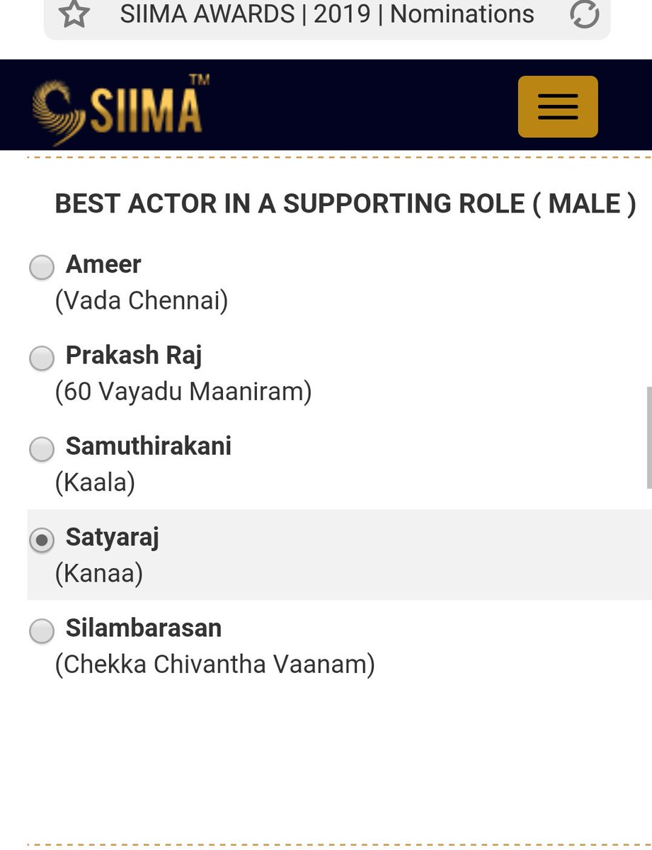 SIIMA Supporting Role Male #Sathyaraj sir 👏  Real performance 👌