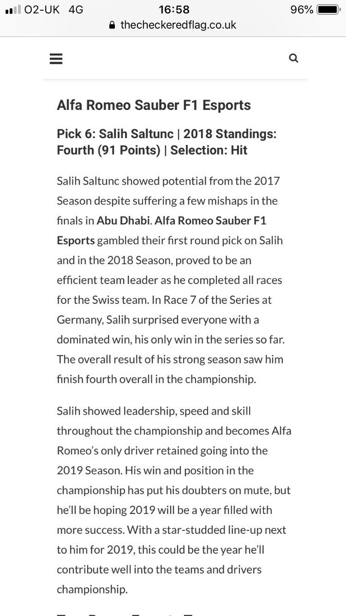 Thanks 🙂👊🏼 @TheCheckerFlag   Link: https://www.thecheckeredflag.co.uk/2019/07/look-back-at-the-2018-f1-esports-pro-draft-selections/…
