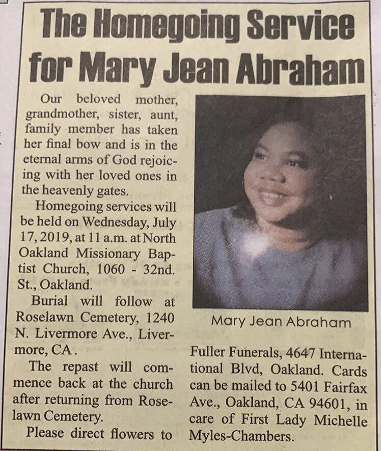 """Today we celebrate the life of my my Queen 👑 & My """"SuperWoman"""" MARY JEAN ABRAHAM 🙏🏾🙏🏾❤️❤️ Homegoing Service today 11am RIP My Angel 😇 Love 💕 💗 """"Coach Carter"""""""