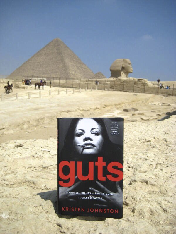 """Hey new followers...did u guys know I wrote a book a few years ago? Its called """"Guts"""" & its about my addiction(s) & how I got my shit together. It's dark & hopefully funny.  There's more, but u get the jist.    https://t.co/NFc6HS8gr1  (My friend @Turleen even took it to Egypt) https://t.co/Kkw9FaGcpe"""