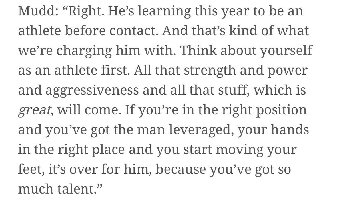 This quote from Howard Mudd to @MoveTheSticks on Quenton Nelson, to me, is so indicative of just how good this staff believes he can be. Great rookie year, but what's scary is he can be even better. twitter.com/awalkercolts/s…