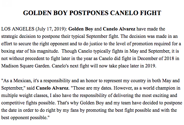 Golden Boy announces Canelo Alvarez won't fight in September ...