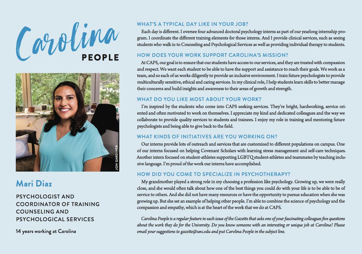 Through @UNCHealthyHeels, Mari Diaz combines compassion and psychology into a career that supports Tar Heels. Read how her grandmother inspired her passion for service (via @univgazette) https://t.co/ZUc6j973yR