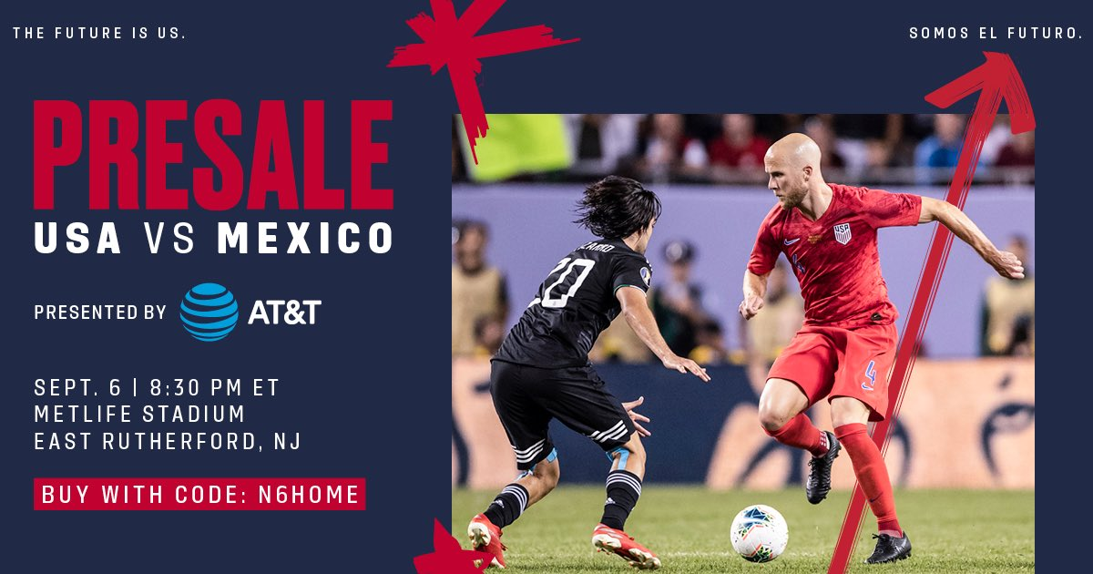 Presale is happening NOW for 🇺🇸 vs 🇲🇽 on September 6!   Use offer code N6HOME to get your tickets before they go on sale to the general public this Friday, July 19 at 10am 🎟 http://bit.ly/2XJ89jh