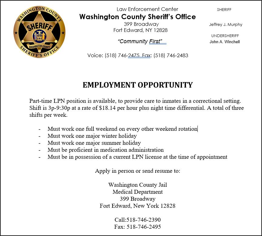 Washington County Sheriff's Office (NY) (@WashCoSheriff