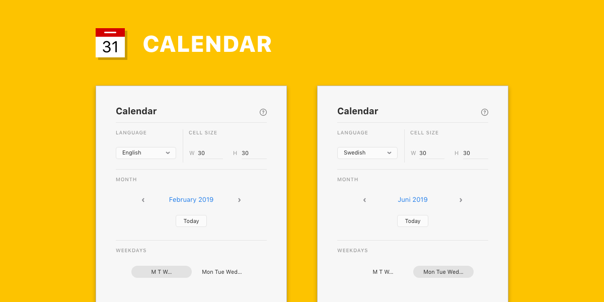 Build a monthly calendar into your prototype  This free