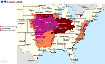 This a map of Excessive Heat Warnings and Advisories from the Midwest to the East Coast.