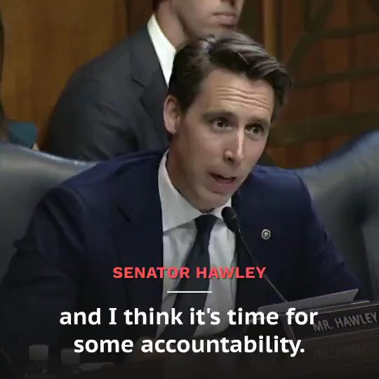 """Sen. Hawley grilled Google during yesterday's @senjudiciary hearing: """"Clearly, trust and patience in your company and the behavior of your monopoly has run out. It has certainly run out with me, and I think it's time for some accountability."""""""