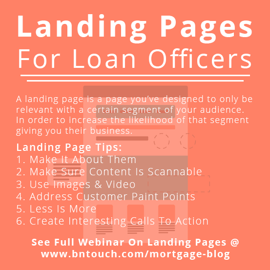 Discover how to create great landing pages as a loan officer at  https:// bntouch.com/mortgage-blog/ landing-page-tips/  … .  #loanofficerlife #loanofficer #loanofficers #loanoriginator #mortgagecrm #mortgagepos #mortgagebroker #mortgagebanker #mortgagebrokers #loanorigination #digitalmortgage<br>http://pic.twitter.com/ULgcOw1bX2