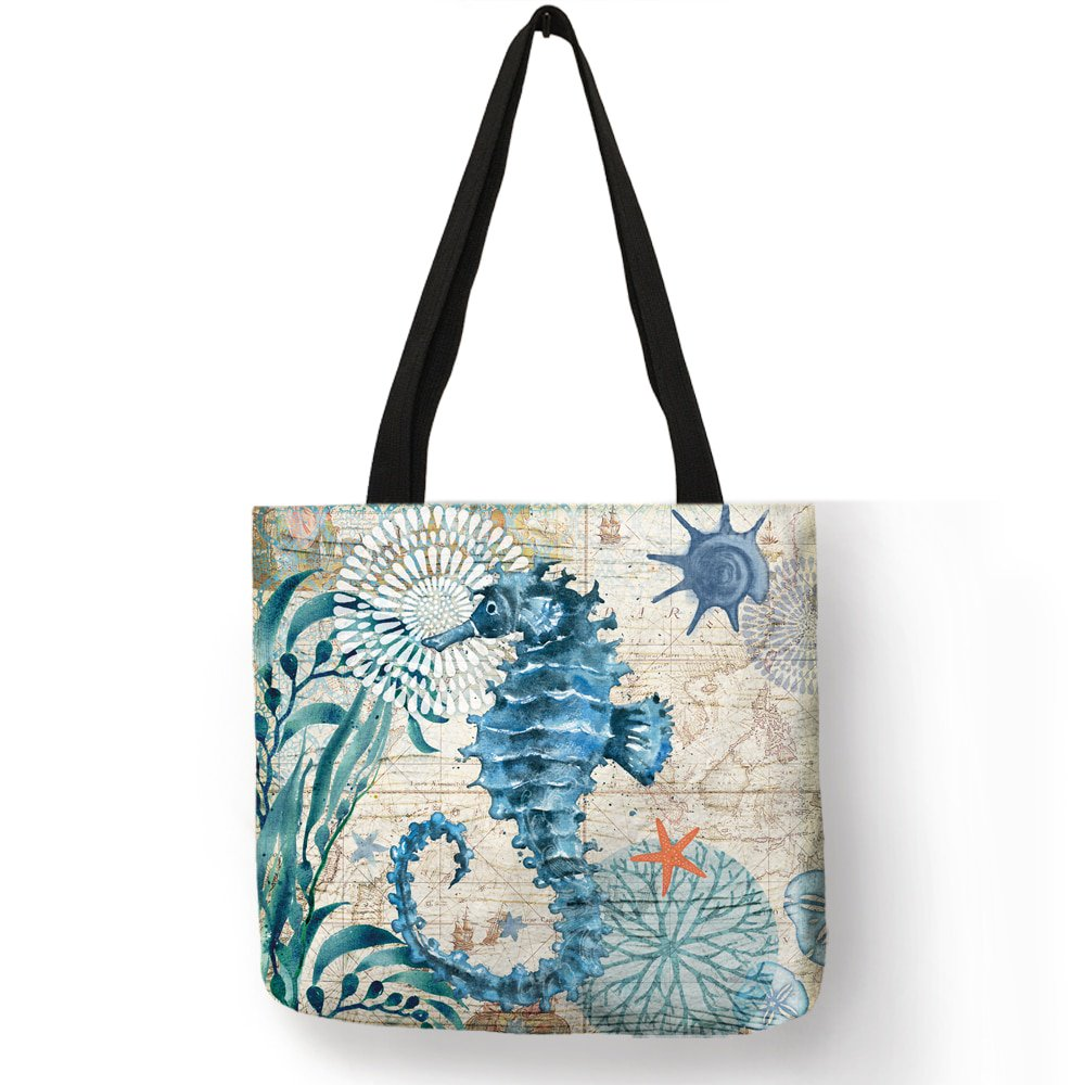 #eatclean #foodie Sea Animal Printed Linen Shoulder Bag<br>http://pic.twitter.com/LxhHE3yyzU