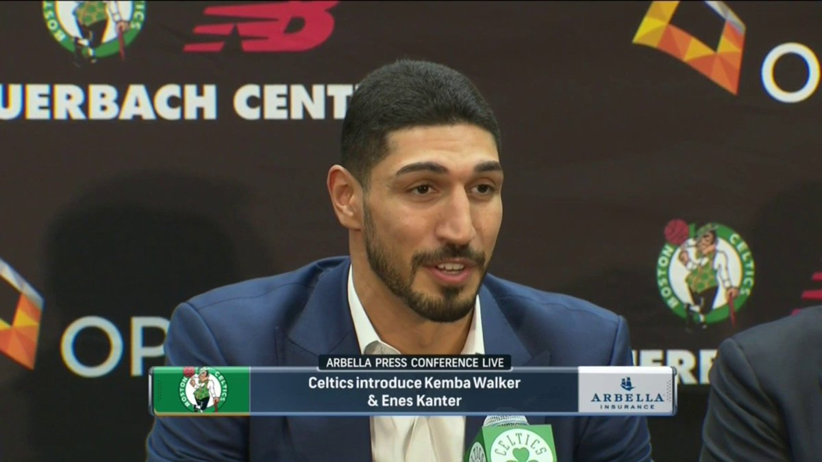 """I wanna be the reason no one else will."" Enes Kanter used Kyrie's exact line on why he chose to wear No. 11 in Boston 😂 (via @NBCSCeltics)"