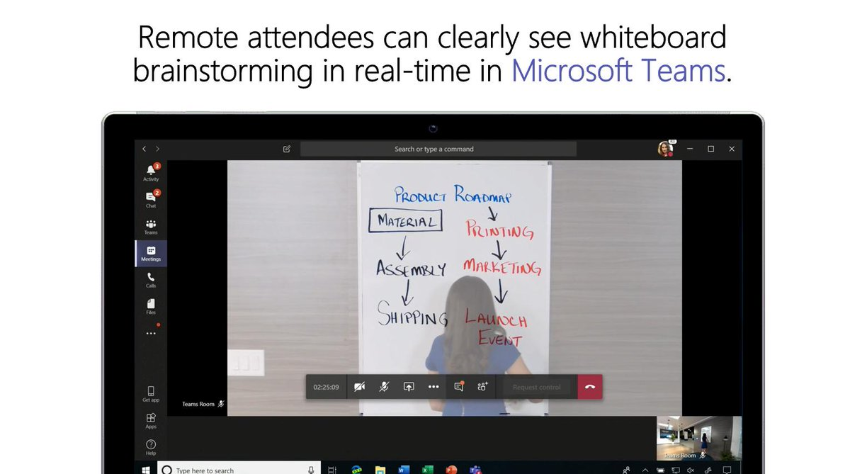 The new Intelligent Capture processing for content capture on analog whiteboards in #MicrosoftTeamsRooms was shown off at #MSInspire – coming later this year. Read more about it here: http://msft.social/VfRpz8