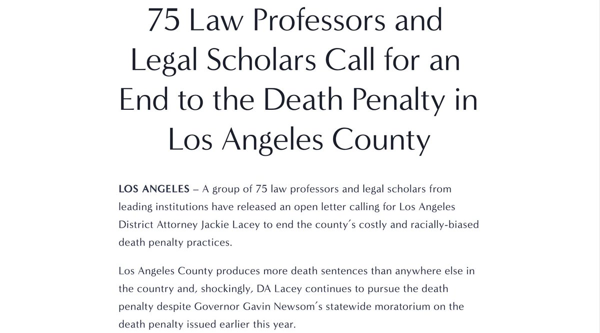 Los Angeles has the largest death row in the *country* & every person sentenced to death since DA Jackie Lacey took office has been a person of color. Prominent legal minds across the U.S. demand an end to L.A.s racially-biased death penalty practices. enddeathpenaltyla.com