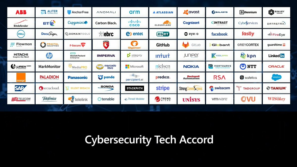 The Cybersecurity Tech Accord started with 34 companies and has now more than tripled to 106. #MSInspire