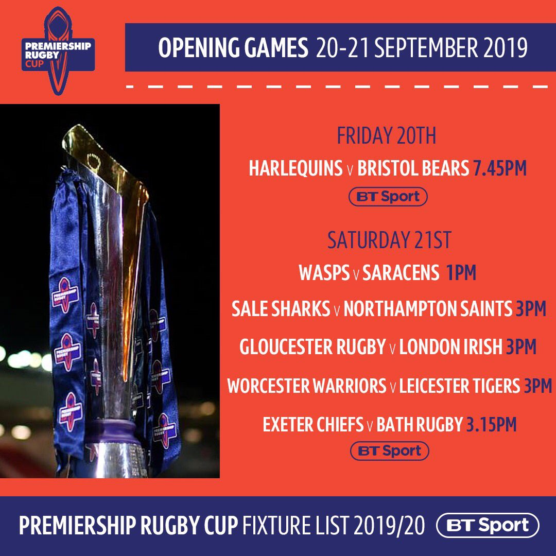test Twitter Media - The Premiership Rugby Cup is back! 🏆  We'll be showing two live matches from the opening round of fixtures in September 📺👇 https://t.co/JYG98lCDII