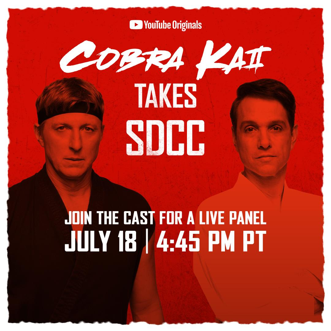 #CobraKai is taking over @Comic_Con tomorrow.  👊  Gear up for the live panel and have your questions ready for the cast and creators on what's to come for season 3. #SDCC2019 #CobraKai https://t.co/E3kMUgi6YB