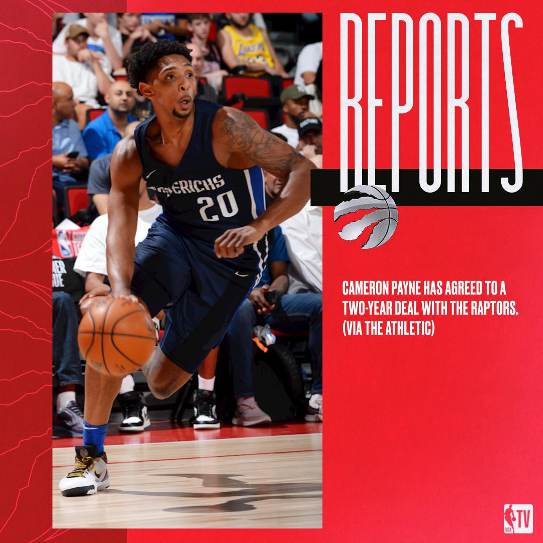 RT @NBATV: Cameron Payne has agreed to a two-year deal with the Raptors. (via The Athletic) https://t.co/Y3e6AEw4By