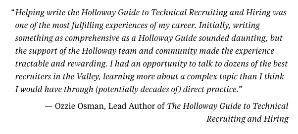 Were looking for subject-matter experts like @oao84 to contribute to future Holloway Guides. Its an amazing opportunity, personally and professionally, to 1. Help others learn 2. Grow your professional network 3. Practice your writing skills buff.ly/2NYodct