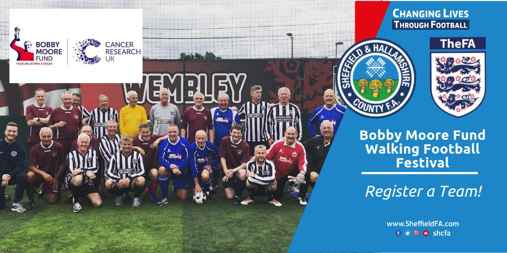 l WALKING FOOTBALL FESTIVAL l The Bobby Moore Fund Charity Walking Football Festival  @SGPThorncliffe S35 3HY  Sat 3rd August, 9am-1pm   Play the game while raising awareness for a great cause! Sign up now!  https:// bit.ly/2XGKsmC       #WalkingFootball <br>http://pic.twitter.com/E5Md5Wh48o