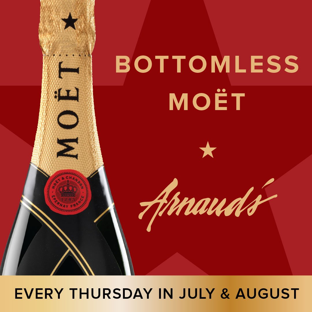 Cheers to Thursday! We'll be pouring bottomless Moët tomorrow for $25 with purchase of an entreé. Reservations on OpenTable or call (504)523-5433. #arnaudsnola #nolaeats #moet #summersparklerspecial #thirstythursday #champagne – at Arnaud's Restaurant
