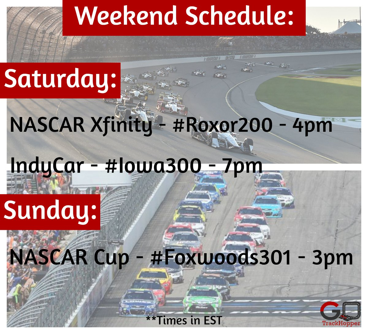 Check out the weekend schedule:  NASCAR Xfinity - #Roxor200 - Sat @ 4pm IndyCar - #Iowa300 - Sat @ 7pm NASCAR Cup - #Foxwoods301 - Sun @ 3pm  **Times in EST  #NASCAR #IndyCar #xfinity #NXS #MENCS #MonsterEnergy #NTTIndyCar #weekend #racing https://t.co/9wwQ3ekq4v