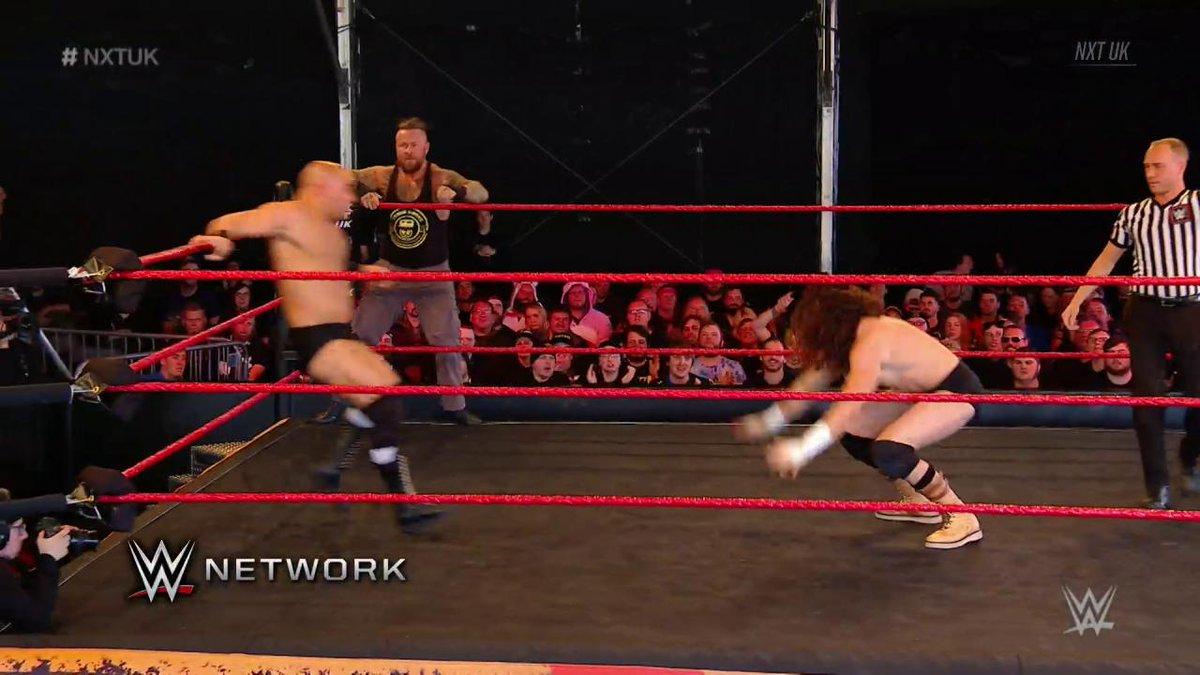 #Imperium's @FabianAichner & @Marcel_B_WWE are nothing but EFFECTIVE as they take it to @SaxonHuxleyUK & @Tyson_T_Bone on #NXTUK!