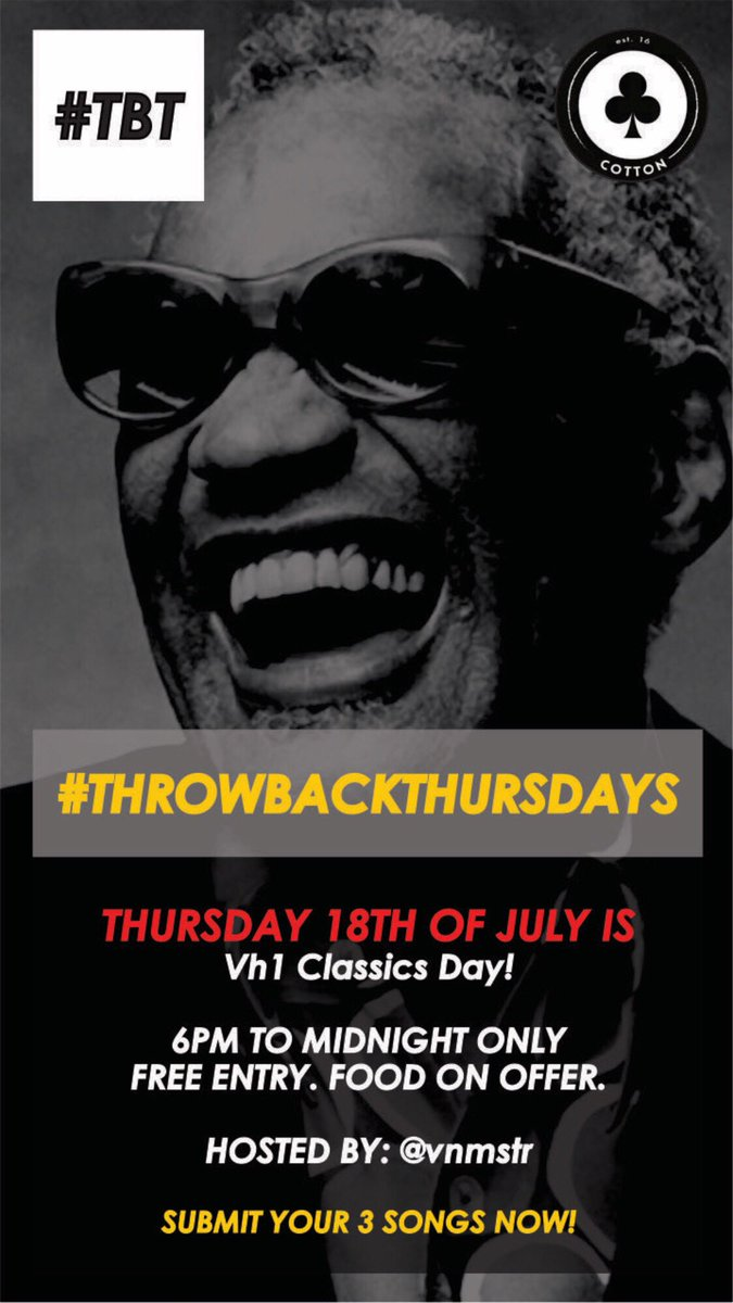 Mad keen for tomorrow's #TBT #ThrowBackThursdays out at @Cottonloungejhb   My 3 track selection for tomorrow: I. Armageddon - I Don't Want To Miss a Thing II. Oasis - Wonderwall III. Ray Charles - Georgia On My Mind <br>http://pic.twitter.com/3ZjxHzBiIA