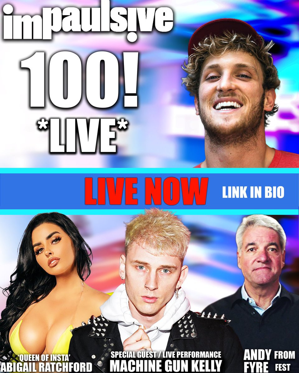 We're LIVE on YouTube for the next 3 hours... don't miss the special performance by @MachineGunKelly. Or @AbiRatchford Or Andy from Fyre Fest (@RealAndyKing) Or Spencer getting a tattoo Or Logan piercing a part of his body (y'all decide where) youtu.be/1sgcpJRSnbk
