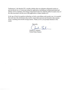 Page 2 of Senator Schumer's letter to the FBI and FTC.